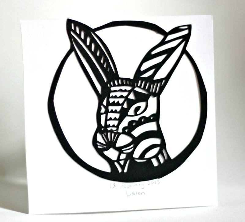 Listen Rabbit Paper Cut Art